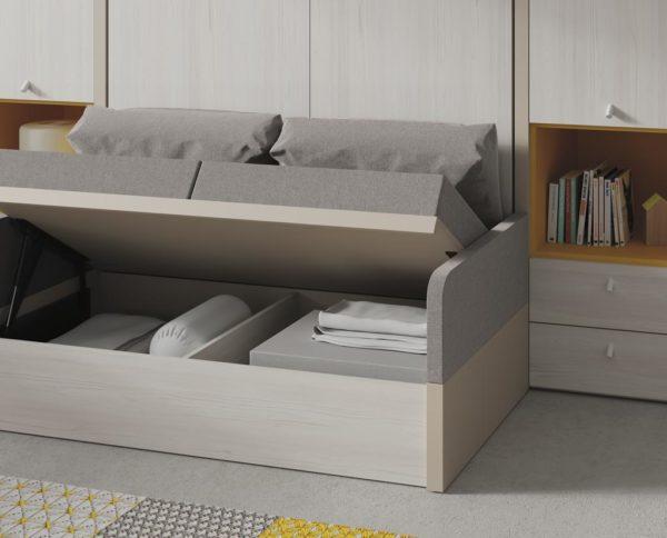 arcon abierto de sofa en cama abatible
