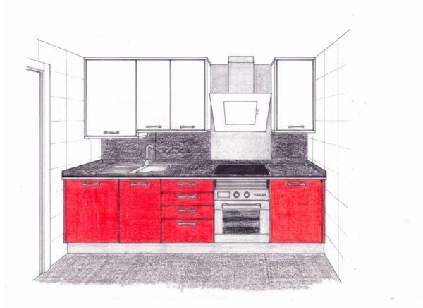 proyecto de cocina blanco- rojo
